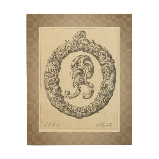 "Antique ""O"" Initial Wood Print"