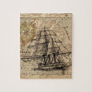 Antique Old General France Map & Ship Jigsaw Puzzle