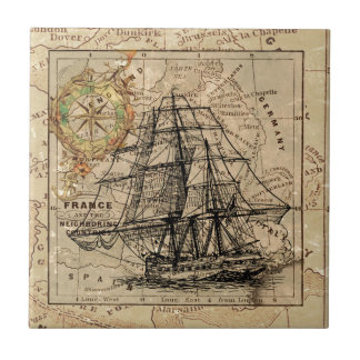 Antique Old General France Map & Ship Small Square Tile