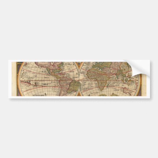 Antique old rare and historic world map bumper sticker