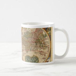Antique old rare and historic world map mug