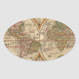Antique old rare and historic world map oval stickers