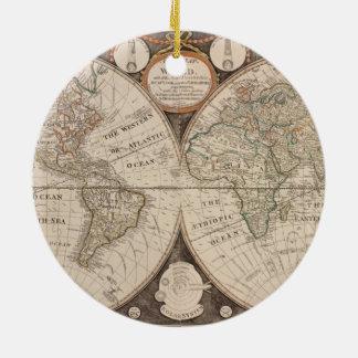 Antique Old World Map 1799 Round Ceramic Decoration