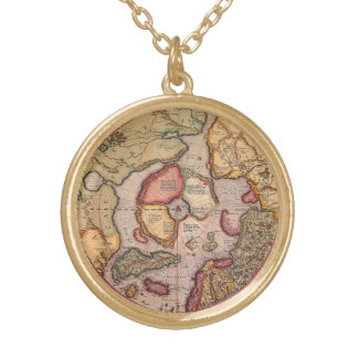 Antique Old World Map, Arctic North Pole, 1595 Gold Plated Necklace