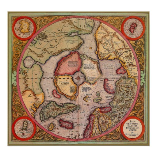 Antique Old World Map, Arctic North Pole, 1595 Poster