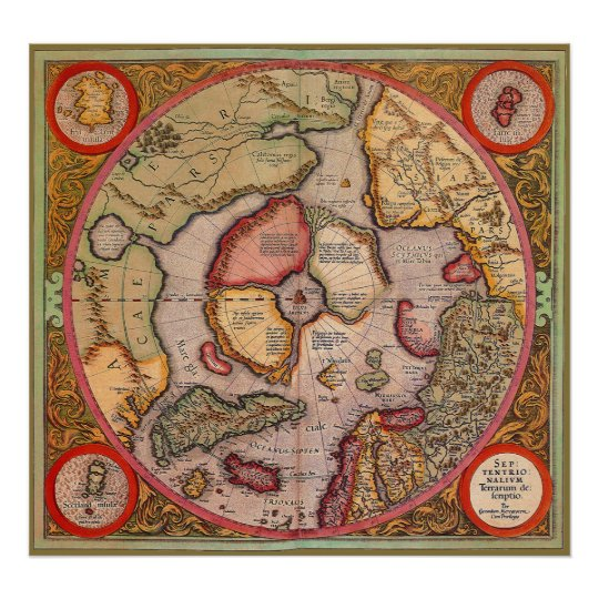 Antique Old World Map, Arctic North Pole, 1595