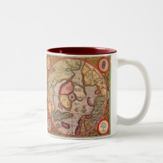 Antique Old World Map, Arctic North Pole, 1595 Two-Tone Mug