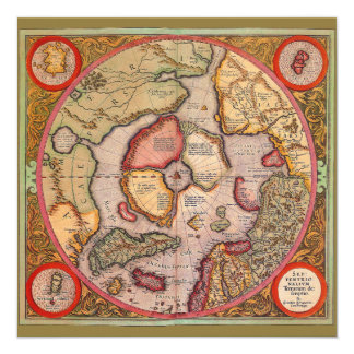 Antique Old World Map Arctic North Pole Invitation