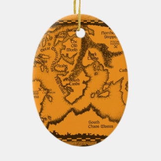 Antique, Old World Map Ceramic Oval Decoration