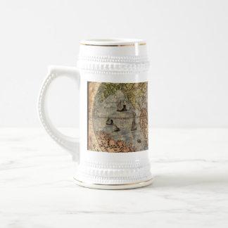 Antique Old World Map Drinking Stein 18 Oz Beer Stein