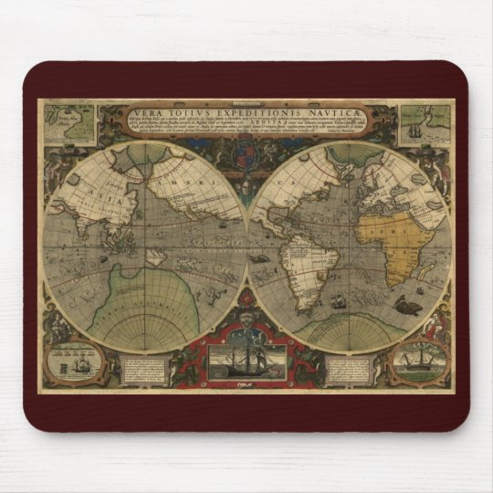 Antique Old World Map Mouse Mat