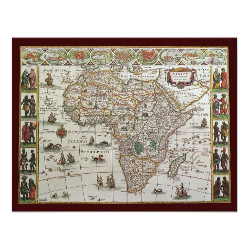 Antique Old World Map of Africa, c. 1635 Custom Announcements