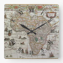 Map of africa antique wall clocks zazzle antique old world map of africa c 1635 square wall clock gumiabroncs Images