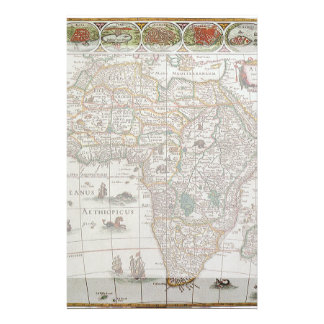 Antique Old World Map of Africa, c. 1635 Stationery Design