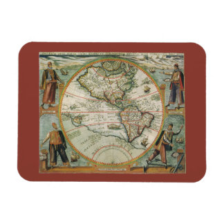 Antique Old World Map of the Americas, 1597 Rectangular Magnet