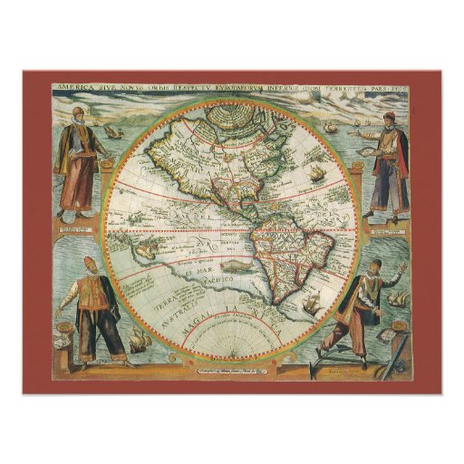Antique Old World Map of the Americas, 1597 Custom Invitations