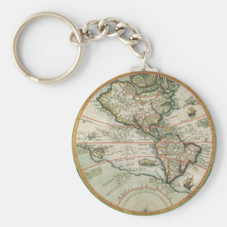 Antique Old World Map of the Americas, 1597 Key Ring
