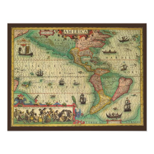 Antique Old World Map of the Americas, 1606 Personalized Invites