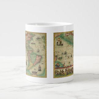 Antique Old World Map of the Americas, 1606 Jumbo Mug