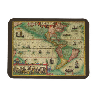 Antique Old World Map of the Americas, 1606 Rectangular Photo Magnet
