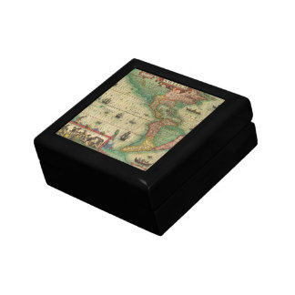 Antique Old World Map of the Americas, 1606 Small Square Gift Box