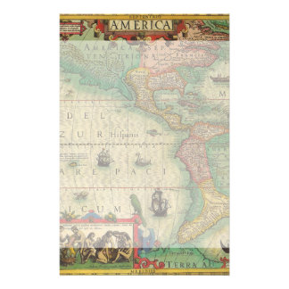 Antique Old World Map of the Americas, 1606 Stationery