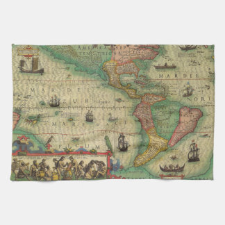 Antique Old World Map of the Americas, 1606 Tea Towel