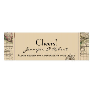 Antique Old World Map Wedding Drink Tickets Business Card Template