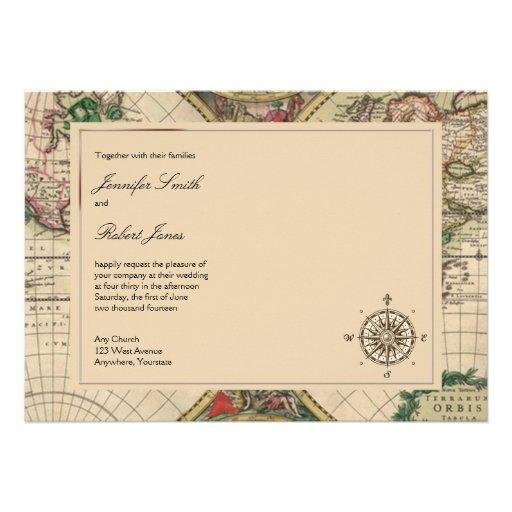 Antique Old World Map Wedding Invitation