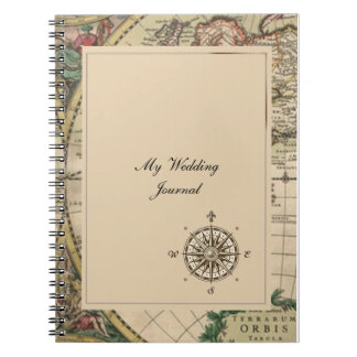 Antique Old World Map Wedding Journal Note Book