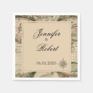 Antique Old World Map Wedding Napkin Disposable Napkin