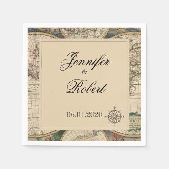 Antique Old World Map Wedding Napkin Disposable Serviettes