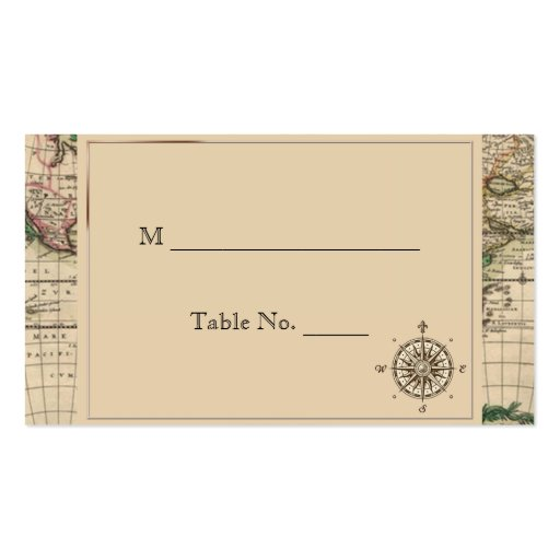Antique Old World Map Wedding Place Cards Business Card Template