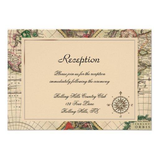Antique Old World Map Wedding Reception 9 Cm X 13 Cm Invitation Card