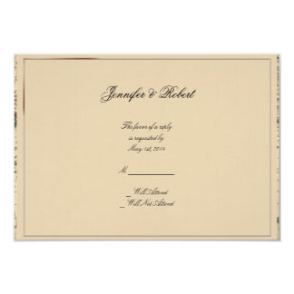 Antique Old World Map Wedding Response Card 9 Cm X 13 Cm Invitation Card