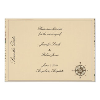 Antique Old World Map Wedding Save the Date Card