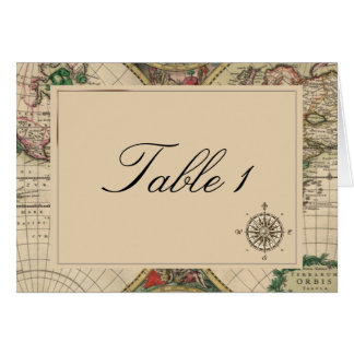 Antique Old World Map Wedding Table Number Card