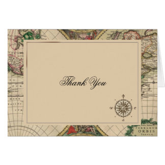 Antique Old World Map Wedding Thank You Card