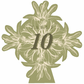 Antique Olive Floral Table Number CutOut Standing Photo Sculpture