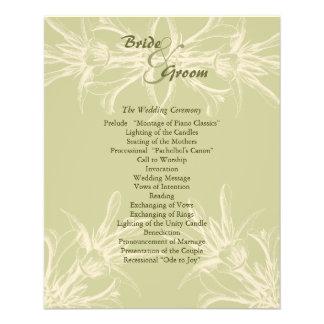 Antique Olive Floral Wedding Program 11.5 Cm X 14 Cm Flyer