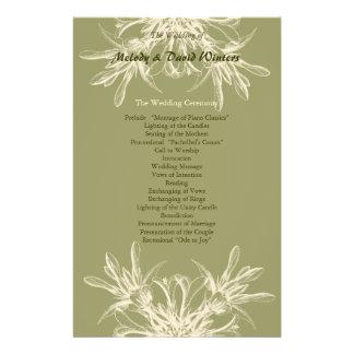 Antique Olive Floral Wedding Program Personalized Flyer