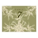 Antique Olive Floral Wedding Table Card Postcards