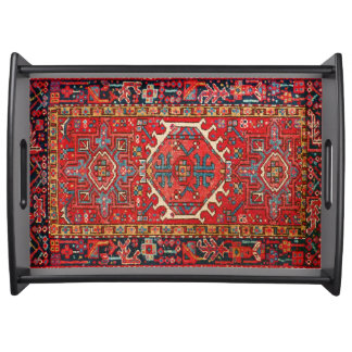 Antique Oriental Turkish or Persian Rug Print Serving Tray