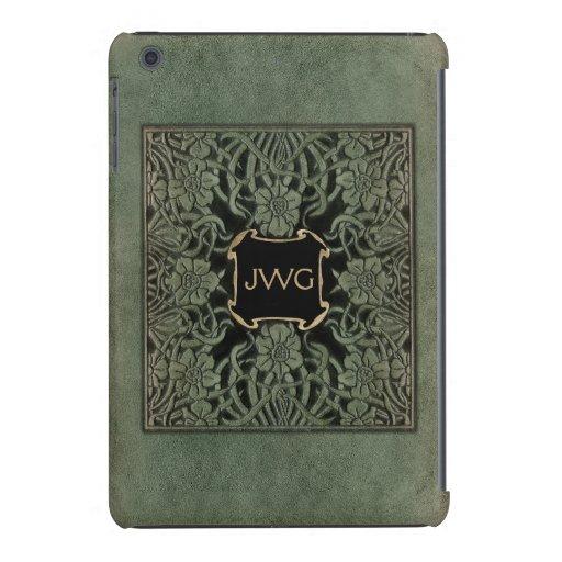 Antique Ornate Leather Monogram Book Cover iPad Mini Covers