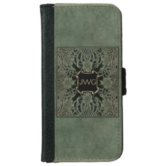 Antique Ornate Tooled Leather Monogram iPhone 6 Wallet Case