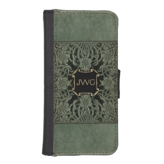 Antique Ornate Tooled Leather Monogram iPhone SE/5/5s Wallet Case