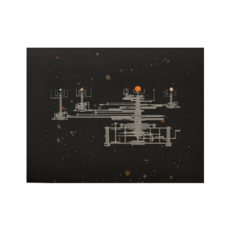 Antique Orrery in Space Wood Poster