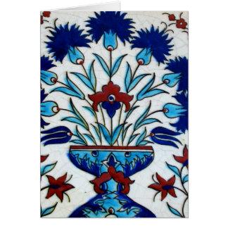 Antique Ottoman  Floral Tile Design Greeting Card