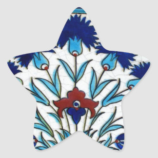 Antique Ottoman  Floral Tile Design Star Sticker