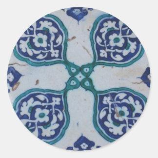 Antique Ottoman Tile Design Round Sticker